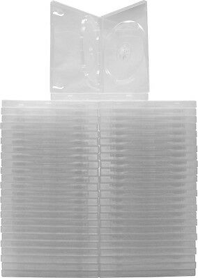 (50) DV3R14CL Clear Triple 3 DVD 3DVD Cases Boxes SLIM 14mm Wrap Around Sleeve