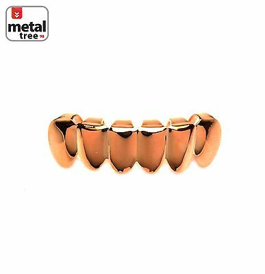Hip Hop Small Plain 14k Rose Gold Plated Bottom Grillz * Made IN KOREA *S001-RG