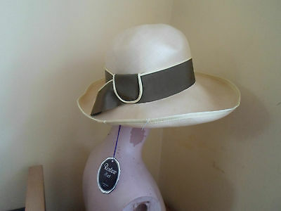"""Good Classy Retro Pale Yellow+Olive Green Relshaw (London) Hat Size Small 21"""""""