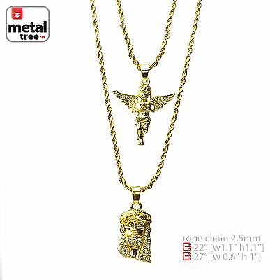"""Solid 14K Gold Plated Jesus & Angel 22"""" & 27"""" Combo Pendant Necklace MHC 202 G"""