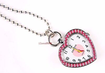 New 10 pcs Fashion pink Heart design Necklace pocket Watches gifts USK49