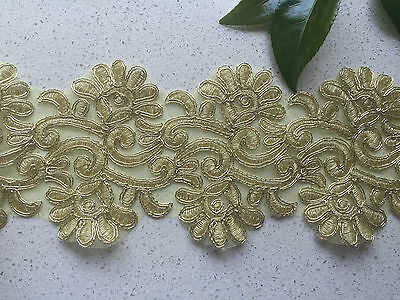 1Yards Embroidered Lace Trim DIY Sewing Crafts Vintage Decor 10.5cm Width Gold