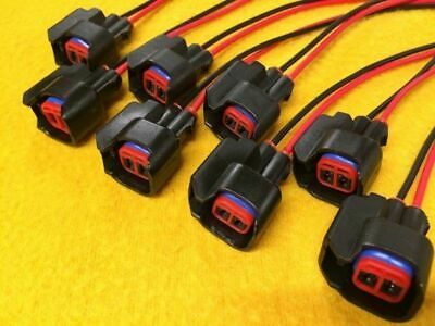 8 x EV6 USCAR Fuel Injector wired plugs Bosch female quick connectors