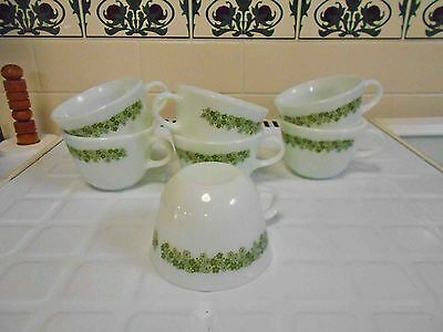 Vintage Milk Glass Pyrex 'Spring Daisy' large tea cups 7 in total ex con