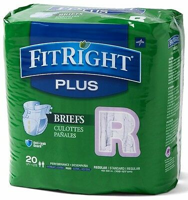 Medline FitRight Plus Clothlike Disposable Briefs - 80 Per Case #FITPLUSRG