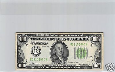 Usa Etats-Unis Federal Reserve Note $100 Dollars 1934 New-York N° B02158000A