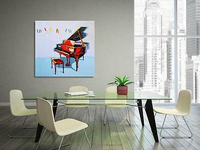 LARGE MUSICAL NOTES GRAND PIANO PAINTED CANVAS PAINTING WALL ART 100x100cm