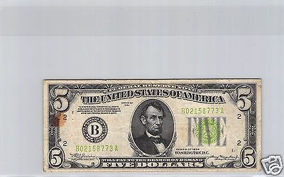 Usa Etats-Unis Federal Reserve Note $5 Dollars 1934 N° B02158773A
