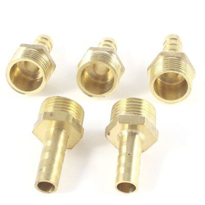 "5 Pcs 3/8""PT Male Thread to 8mm Hose Barb Brass Straight Coupling Fitting"