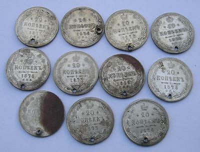 Lot Of 11  Russian Empire 20 Kopeks Holed  Silver Coins