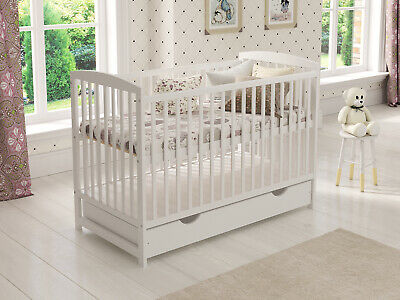 "Baby Cot Bed with Drawer White Junior Toddler Bed with Deluxe 4"" Foam Mattress"