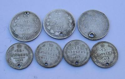 Lot Of 7  Russian Empire 25 And 15 Kopeks Holed  Silver Coins