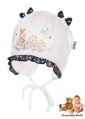 JAMIKS 100% Cotton girls sun hat TIE UP Summer size 0 - 12 months BABY GIRL