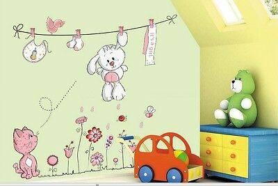 It's a girl wall sticker baby room decoration, nursery wall art mural teddy bear