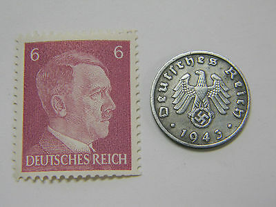 WW2 Artifact German Nazi Army Coin Third Reich Swastika + Hitler Stamp