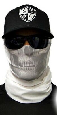 Salt Armour Tactical Black Skull Face Shield Sun Mask Balaclava Neck Gaiter USA