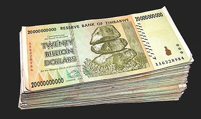 100 x Zimbabwe 20 Billion Dollar banknotes-full currency bundle