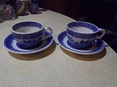 2 Shenango China Blue Willow Restaurant Ware Cups & Saucers USA