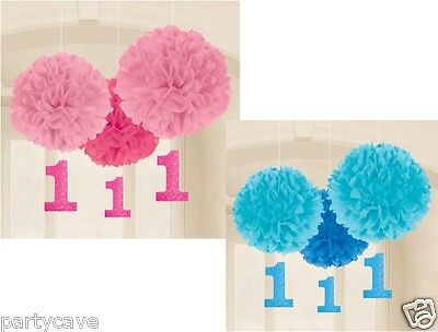 1St First Birthday Pink Blue Party 3 Pack Fluffy Hanging Paper Ball Decoration