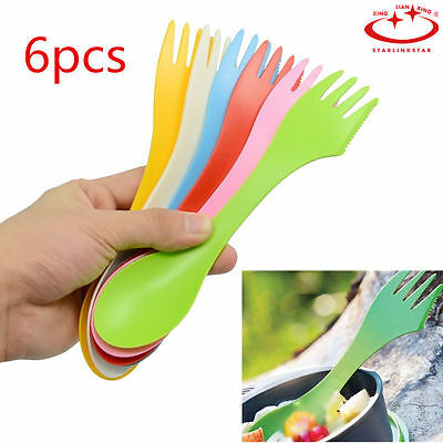 6pcs/set Plastic Spork - Knife - Spoon - Fork - Camping - Hiking - Cutlery NEW