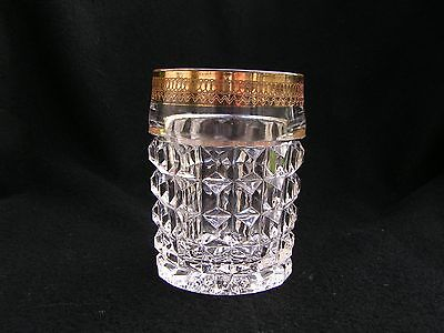 Diamond panel Tumbler with filigree gold band clear glass
