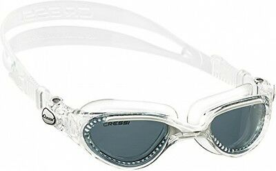 Cressi Flash Adult Swim Goggles snorkel Clear White Smoked Lenses splash guard