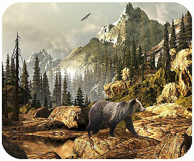 Mouse Pad Custom Personalized Thick Mousepad-Bear In Mountains-Any Text