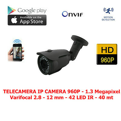 TELECAMERA IP CAMERA 1.3 Mpx 42 LED ONVIF FULL HD 1080p VARIFOCAL 2.8-12 mm NVR