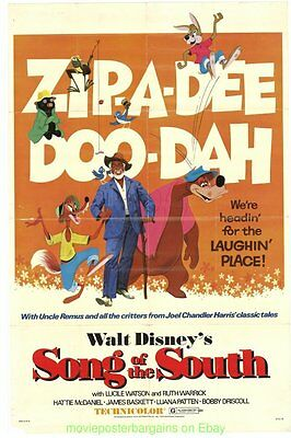 SONG OF THE SOUTH MOVIE POSTER Original 27x41 Folded R1972 One Sheet DISNEY