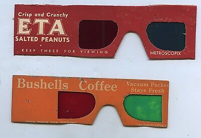 1960's Bushells Tea/coffee 3D Viewer Glasses + Eta  Samples From Showbags  L81