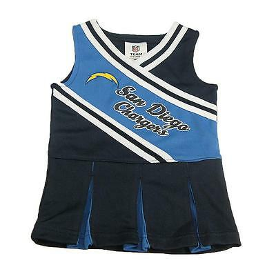 New NFL San Diego Chargers Toddler Girls Cheerleader Dress Size 2T-4T Football