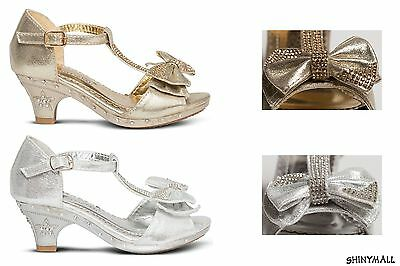 Girls Toddlers Youth Pageant Wedding communion Little heels shoes Gold silver