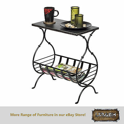 Magazine Holder Rack Stand End Side Table with Engraved Silver Finish Steel Top