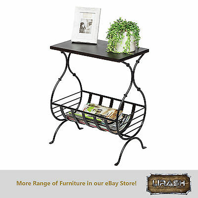 Magazine Holder Rack Stand End Side Table with Engraved Copper Finish Steel Top