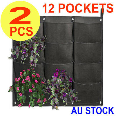 2x 12 Pocket Planter Outdoor Vertical Garden Wall Planting Hanging Bag for Herbs