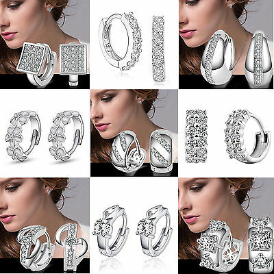 Be Fashion Women Crystal 925 Sterling Silver Ear Stud Hoop Earrings Jewelry Gift