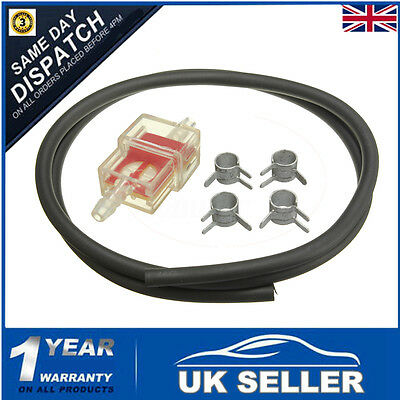 Motorcycle Scooter 6mm Gas Inline Fuel Filter & Petrol Pipe Hose Line Pipe Clip
