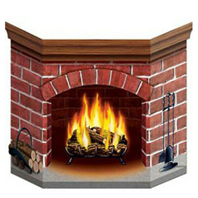 Party Supplies Decorations Christmas Winter Fireplace Standup Cutout Photo Prop