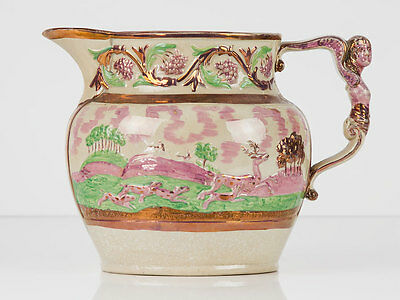 c1820 Newcastle Pink Lustreware Hunting Scene Jug by Fell