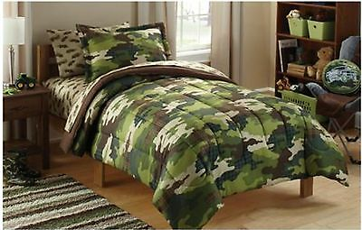 5pc CAMO Twin-Single COMFORTER+SHAM+SHEETS Set Bed in a Bag Army Military Trucks