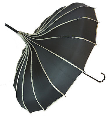 Soake Stunning Classic Ribbed Plain Pagoda Style Long Walking Umbrellas