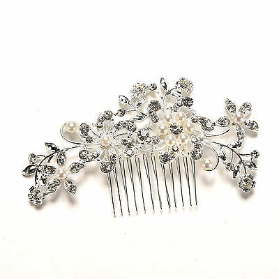 Crystal Rhinestone Wedding Flower Pearls Hair Clip Hair Comb For Women Bride FOU