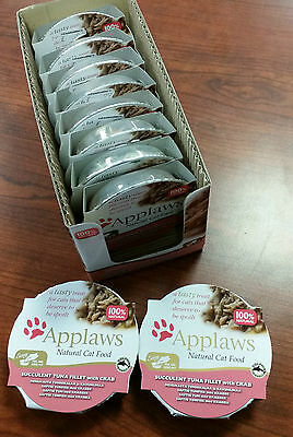 APPLAWS NATURAL CAT FOOD - SUCCULENT TUNA FILLET  with CRAB - 10 x 60g