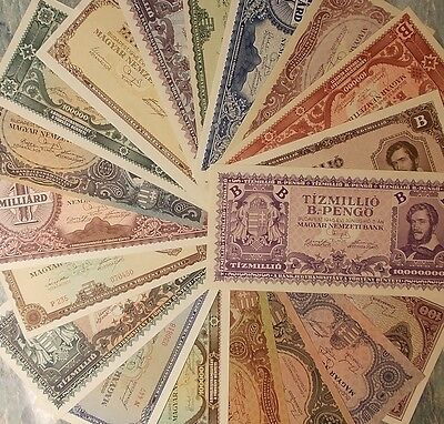 Hungary 19 different banknotes 1945-46 - all  AU-UNC - BARGAIN