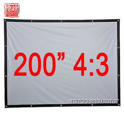 """200""""4:3 Wall White Folding Portable Projection Screen to Smart DLP LED Projector"""