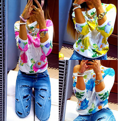 Fashion Women Long Sleeve Tops Blouse Floral Print Shirt Casual Loose T-Shirt