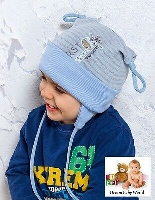 97% COTTON boys hat spring / autumn 3 - 18 months NEW with tags! TIE UP