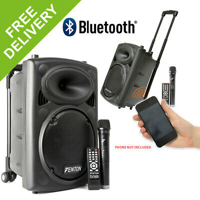 "Fenton Active Powered 10"" Battery Wireless Bluetooth Portable PA System Wheels"