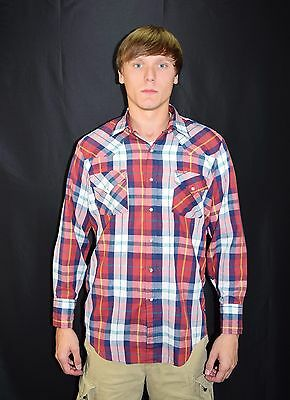 Vintage Mens 80's Red Plaid Western Shirt by ELY PLAINS Size Medium  Pearl Snaps