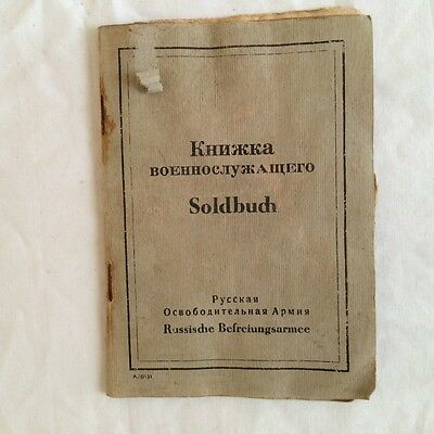 Ww2 German Soldbuch Of The Member Of The Russian Liberation Army(Roa). Orig.